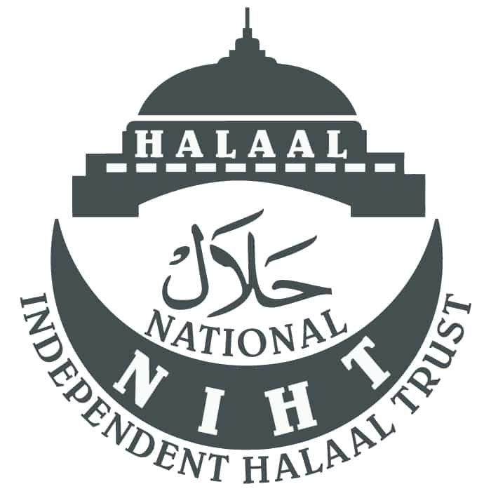 Certified Halaal by National Independent Halaal Trust (NHIT) South Africa. Registration No. H786/NR 199
